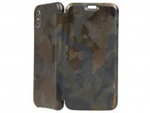 Graffi Oyster Case Camouflage Leer - iPhone X/Xs hoesje