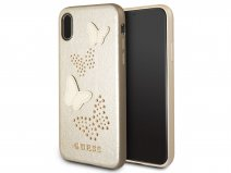 Guess Butterfly Studs Soft Case Goud - iPhone X hoesje