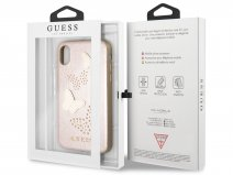 Guess Butterfly Studs Soft Case Rosé - iPhone X hoesje