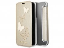 Guess Butterfly Studs Bookcase Goud - iPhone X hoesje