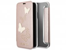 Guess Butterfly Studs Bookcase Rosé - iPhone X hoesje