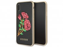 Guess Embroidered Rose Soft Case - iPhone X hoesje
