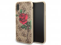 Guess Monogram Rose Soft Case Bruin - iPhone X hoesje