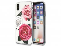 Guess Pink Roses TPU Skin - iPhone X hoesje