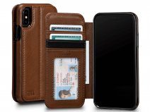 Sena Deen Wallet Book Saddle Tan - iPhone X/Xs Hoesje Leer