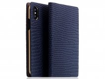 SLG Design D3 Lizard Case Navy - Leren iPhone X/Xs hoesje