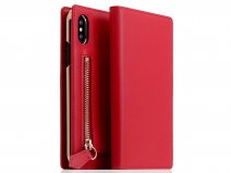 SLG Design D5 CSL Zipper Red - Leren iPhone X/Xs hoesje