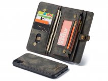 CaseMe 2in1 Wallet Ritsvak Case Zwart - iPhone XR Hoesje