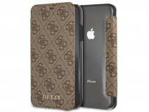 Guess Monogram Book Case Bruin - iPhone XR hoesje