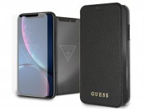 Guess Iridescent Clear Bookcase Bundel Zwart - iPhone XR Hoesje + Protector