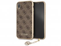 Guess Monogram Charm Case Bruin - iPhone XR hoesje