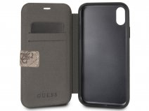 Guess Monogram Bookcase Bruin - iPhone X/Xs hoesje