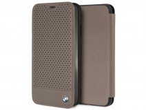 BMW Perforated Folio Bruin Leer - iPhone Xs Max hoesje