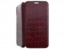 Graffi Oyster Croco Bordeaux Leer - iPhone Xs Max case