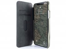 Greenwich Blake Folio Seal/Gunmetal - Leren iPhone Xs Max hoesje