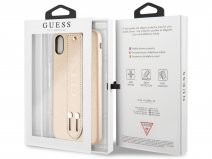 Guess Iridescent Strap Case Goud - iPhone Xs Max hoesje