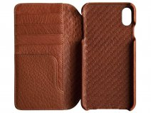 Vaja Wallet Agenda Case Saddle Tan - iPhone Xs Max Hoesje Leer