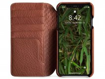 Vaja Wallet Wood Case Saddle Tan - iPhone Xs Max Hoesje Leer