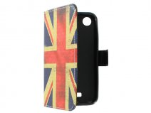 Vintage GB Flag Book Case Hoesje voor HTC Desire 320