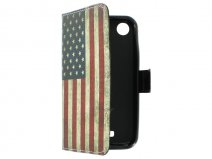 Vintage USA Flag Book Case Hoesje voor HTC Desire 320