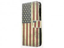 Vintage USA Flag Book Case Hoesje voor HTC Desire 510