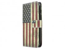 Vintage USA Flag Book Case Hoesje voor Huawei Ascend G610