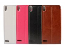 Classic View Sideflip Case Hoesje voor Huawei Ascend P6