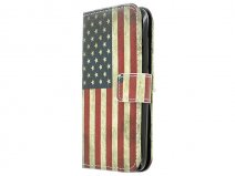Vintage USA Flag Book Case Hoesje voor Huawei Ascend Y550