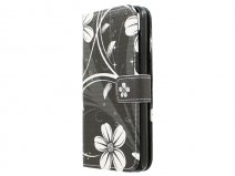 White Flowers Book Case - Huawei Ascend G620s hoesje
