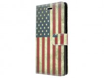 Vintage USA Flag Book Case Hoesje voor Huawei Ascend P8