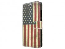 Vintage USA Flag Book Case Hoesje voor Huawei Ascend P8 Lite