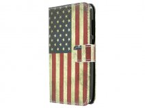 Vintage USA Flag Book Case Hoesje voor Huawei Ascend Y625
