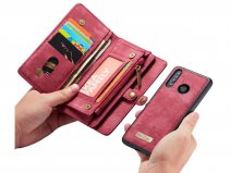 CaseMe 2in1 Wallet Ritsvak Case Rood - Huawei P30 Lite (New Edition) Hoesje