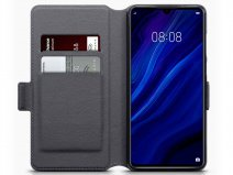 CaseBoutique Leather Case Grijs Leer - Huawei P30 hoesje