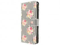 Flower Stripes Book Case - Huawei Y6 Hoesje