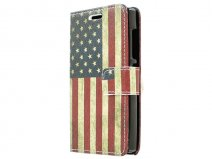 Vintage USA Flag Book Case Hoesje voor Microsoft Lumia 435