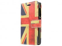 Vintage GB Flag Book Case Hoesje voor Microsoft Lumia 532