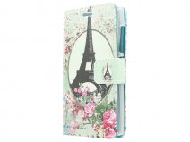 Retro Paris Book Case Hoesje voor Microsoft Lumia 532