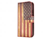 Vintage USA Flag Book Case Hoesje voor Motorola New Moto G (2014)