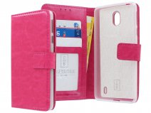 Book Case Wallet Mapje Roze - Nokia 1 Plus hoesje
