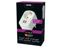 Grixx Dubbele USB Oplader met Pass-through Stopcontact