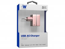Just Wireless 2.4A USB Oplader Universeel (Rosé Goud)