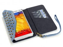 Covert Studded Denim Wallet Case - Hoesje voor Samsung Galaxy Note 3
