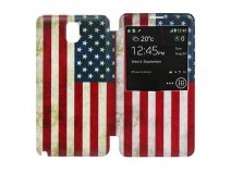 Vintage USA Flag S-View Cover voor Samsung Galaxy Note 3