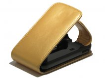 Golden Leather Case voor Samsung Galaxy Ace Plus (S7500)