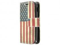 Vintage USA Flag Book Case Hoesje voor Samsung Galaxy Pocket 2