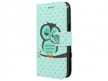 Sleepy Owl Bookcase - Samsung Galaxy J1 2015 hoesje