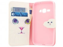 Kitty Cat Bookcase - Samsung Galaxy J1 2016 hoesje