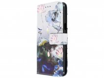 Blue Floral 3D Bookcase - Samsung Galaxy J3 2016 hoesje