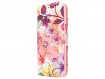 Pink Floral 3D Bookcase - Samsung Galaxy J3 2016 hoesje
